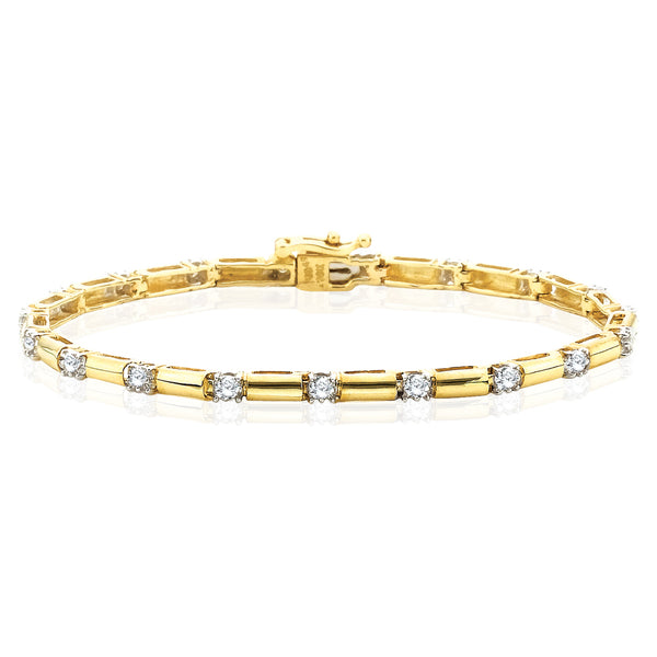 Diamond Link Bracelet in 10K Yellow Gold (1/2 cttw)