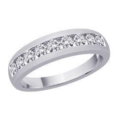 Diamond Men's Wedding Band in14K White Gold (1 cttw)