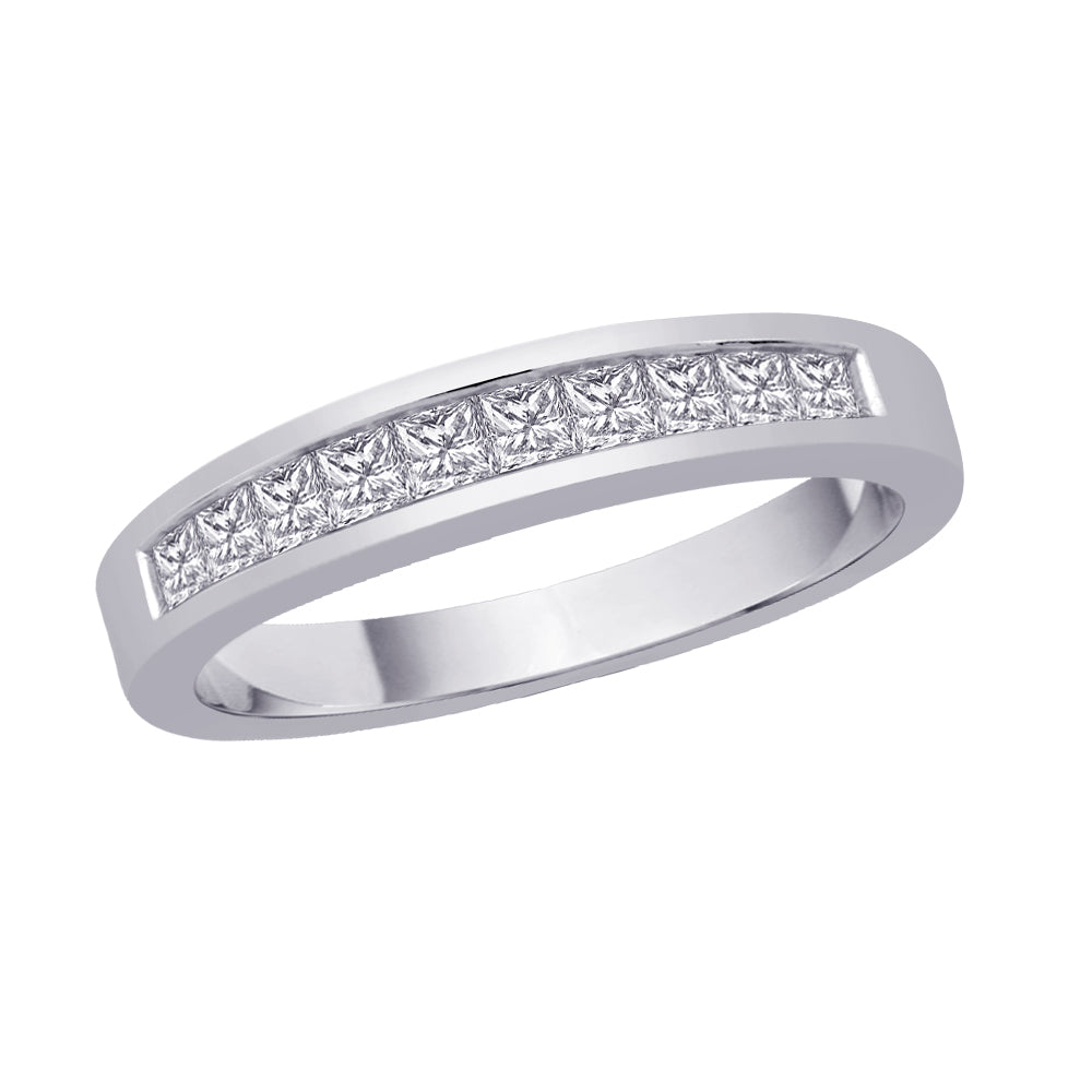Channel Set Princess Cut Diamond Band in Sterling Silver (1 cttw)