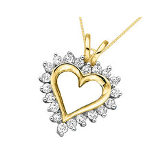 14K Yellow Gold 1/4 ct. Diamond Heart Pendant with Chain