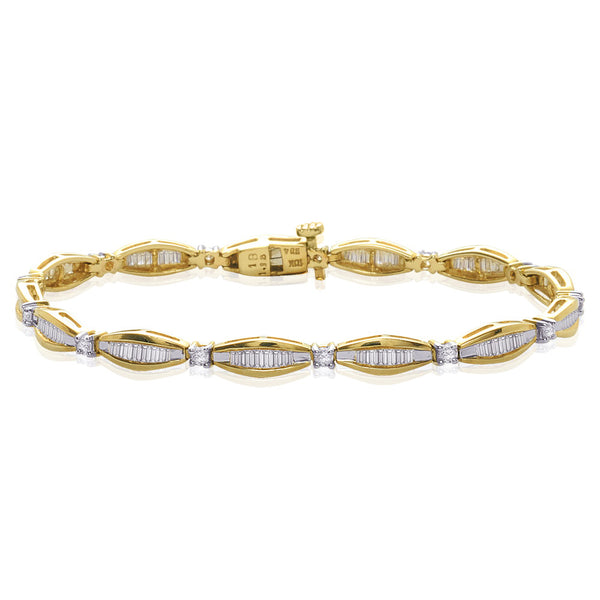 10K Yellow Gold 2 ct. Round and Baguette Cut Diamond Bracelet