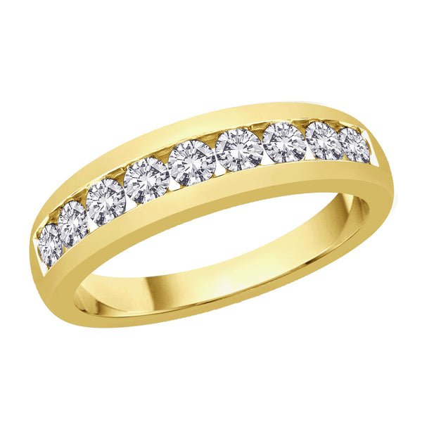Diamond Men's Wedding Band in14K Yellow Gold (1 cttw)