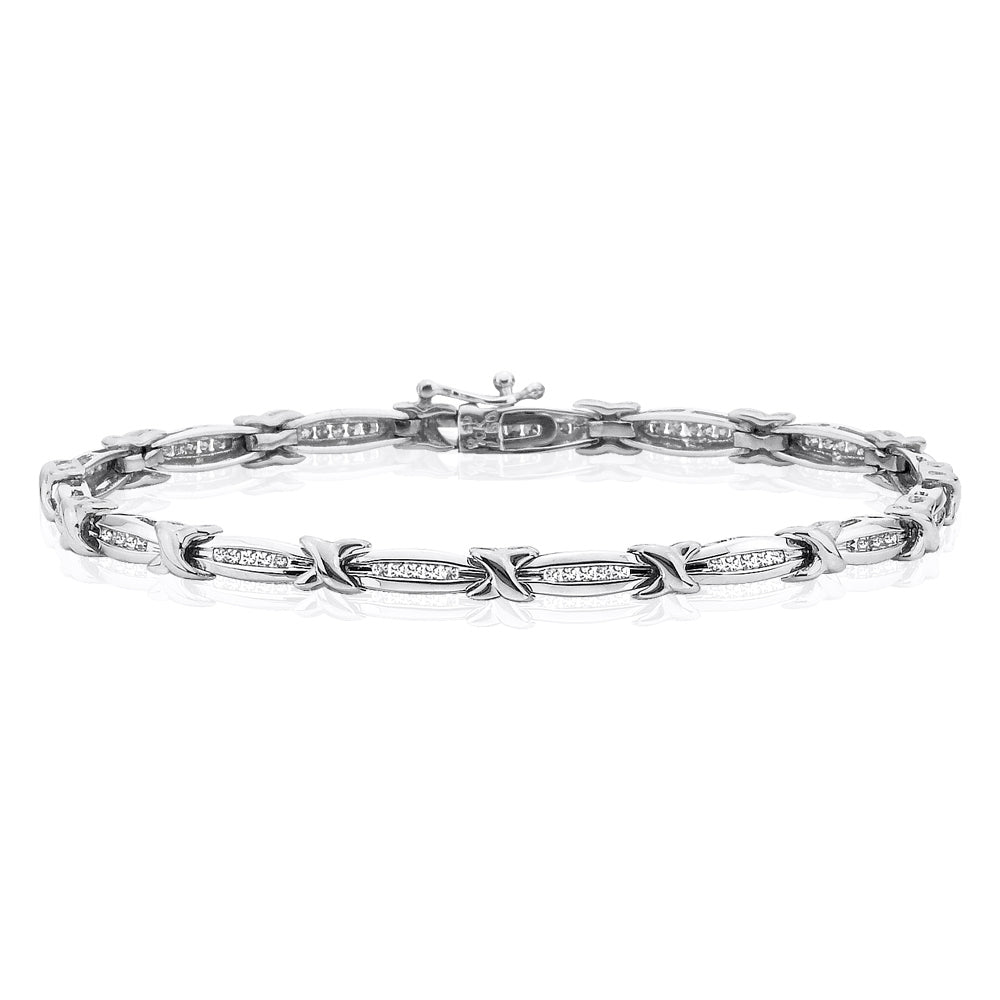 Diamond Link Bracelet in 10K White Gold (1/2 cttw)