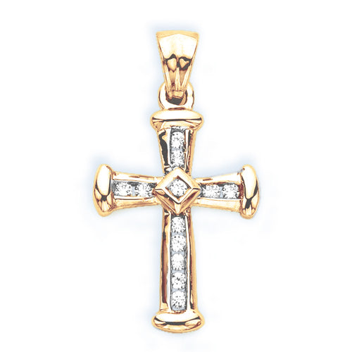 10K Yellow Gold 1/4 ct. Diamond Cross Pendant with Chain