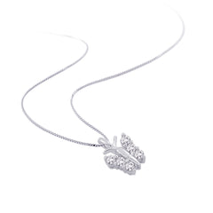 10K White Gold 1/6 ct. Diamond Butterfly Pendant with Chain