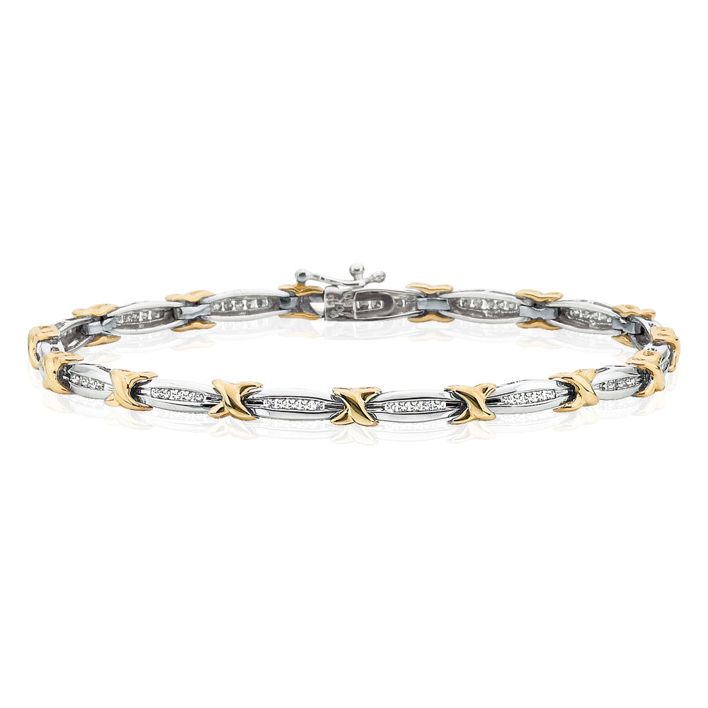 Diamond Link Bracelet in 10K Two Tone Gold (1/2 cttw)