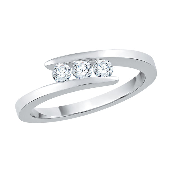 3 Diamond Engagement Ring 1/4 ct. in 14K White Gold
