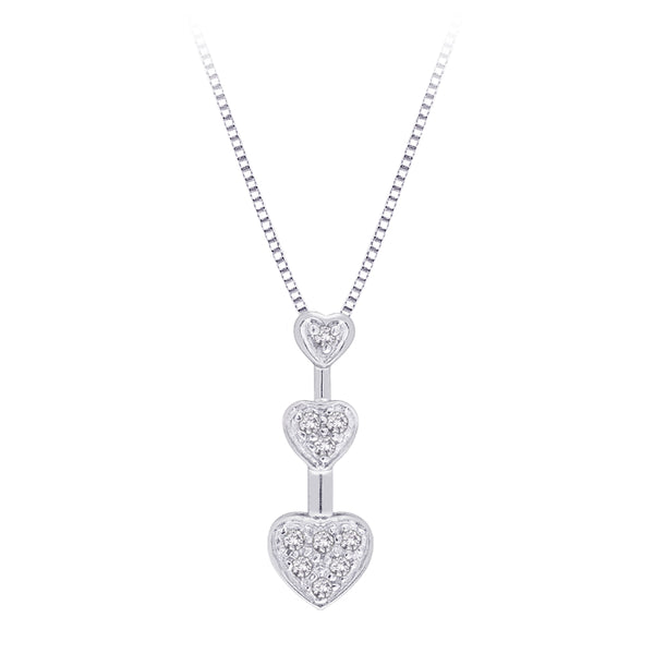 "10K White Gold 1/10 ct. Diamond ""Three Graduating Heart"" Pendant with Chain"