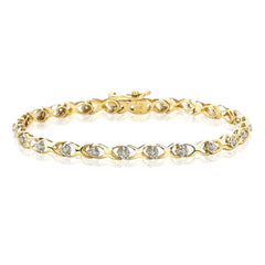 Diamond Link Bracelet in 10K Yellow Gold (1/4 cttw)