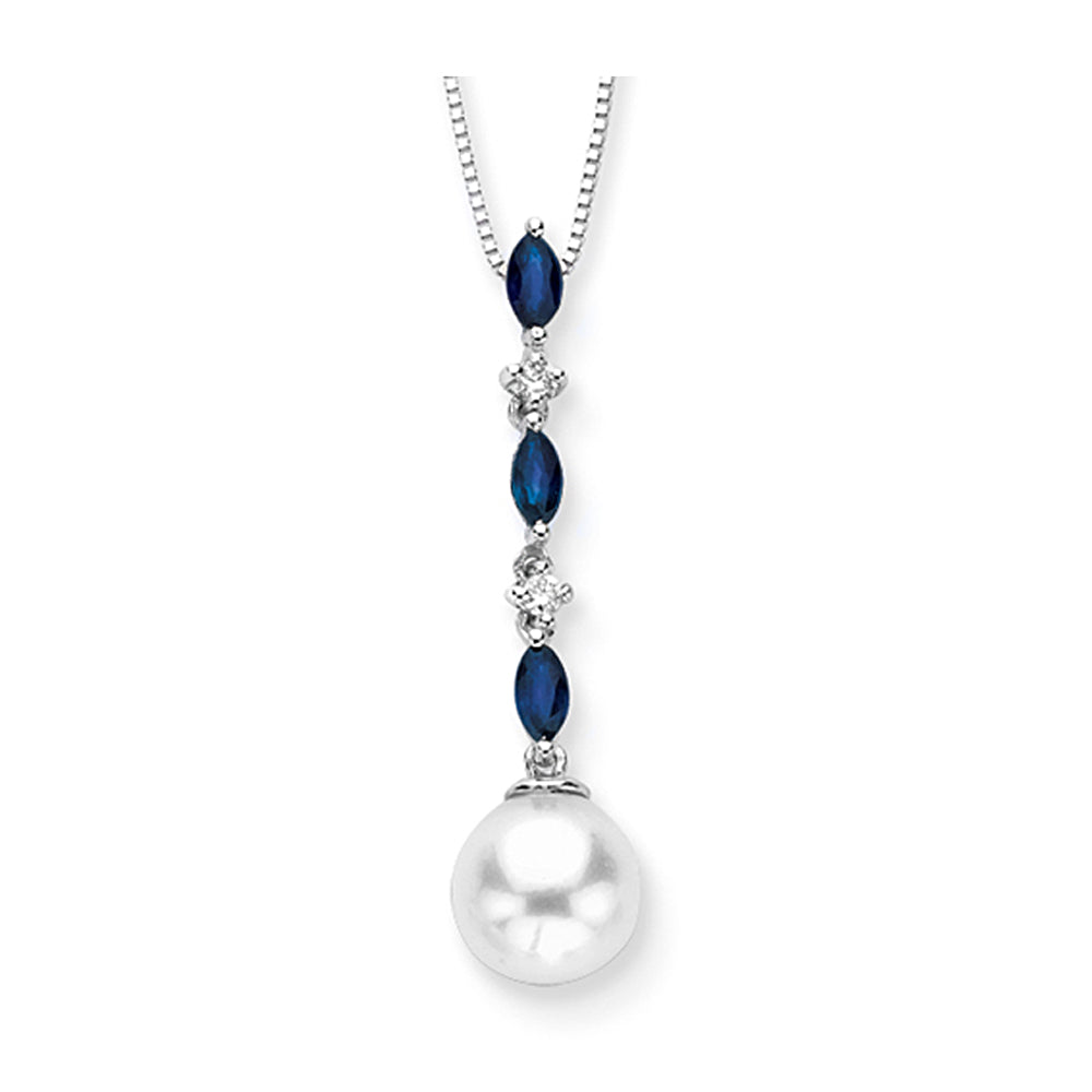 Cultured Freshwater Pearl with 3/8 ct. Sapphire and 1/20 ct. Diamond Pendant in 14K White Gold