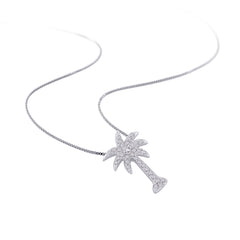 "Diamond ""Palm Tree"" Pendant with Chain in 14K White Gold (1/6 cttw)"