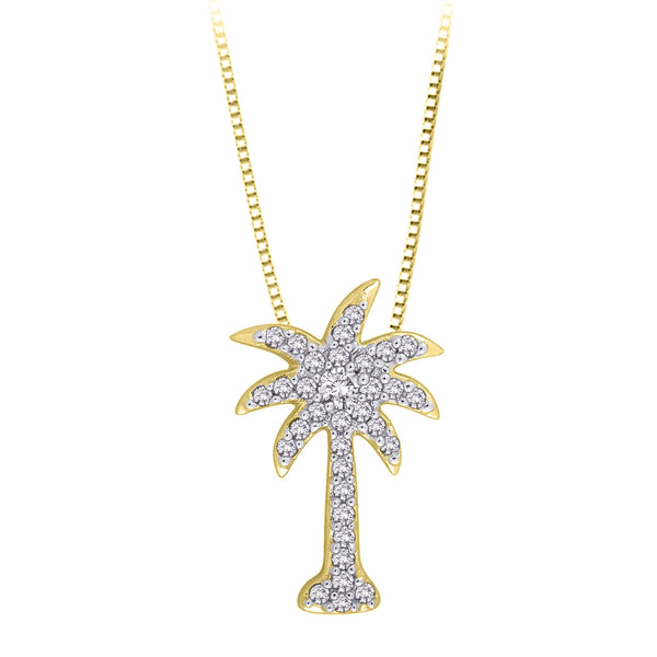 "Diamond ""Palm Tree"" Pendant with Chain in 10K Yellow Gold (1/6 cttw)"