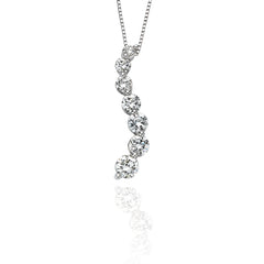 "14K White Gold 1 ct. Diamond ""Journey of Love"" Curve Pendant with Chain"
