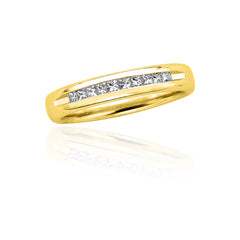 14K Yellow Gold 1/4 ct. Princess Cut Diamond Precision Set Wedding Band