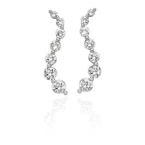 "14K White Gold 2 ct. Diamond ""Journey of Love"" Curve Earrings"