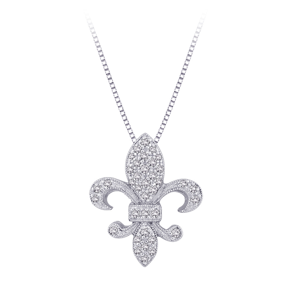 "Diamond ""Fleur-De-Lis"" Milgrain Pendant with Chain in 14K White Gold (1/6 cttw)"