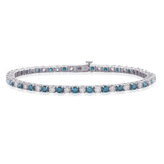 Alternating Blue and White Diamond 4 Prong Tennis Bracelet in 14K White Gold (3 cttw)