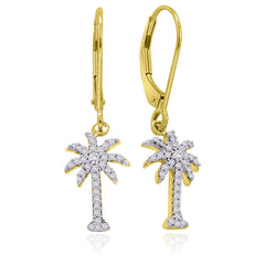 "Lever Back Diamond ""Palm Tree"" Earrings in 10K Yellow Gold (1/3 cttw)"