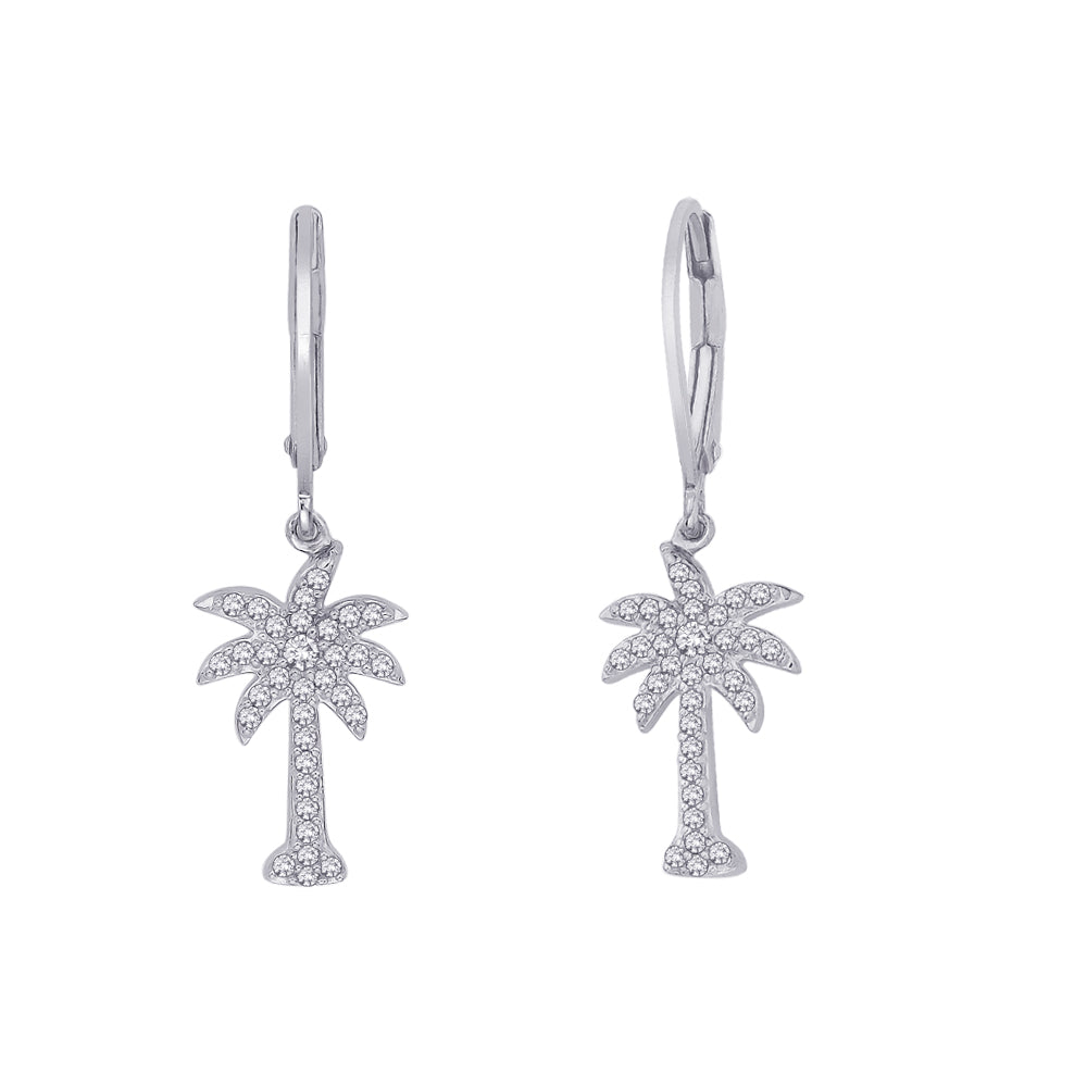 "Lever Back Diamond ""Palm Tree"" Earrings in 14K White Gold (1/3 cttw)"