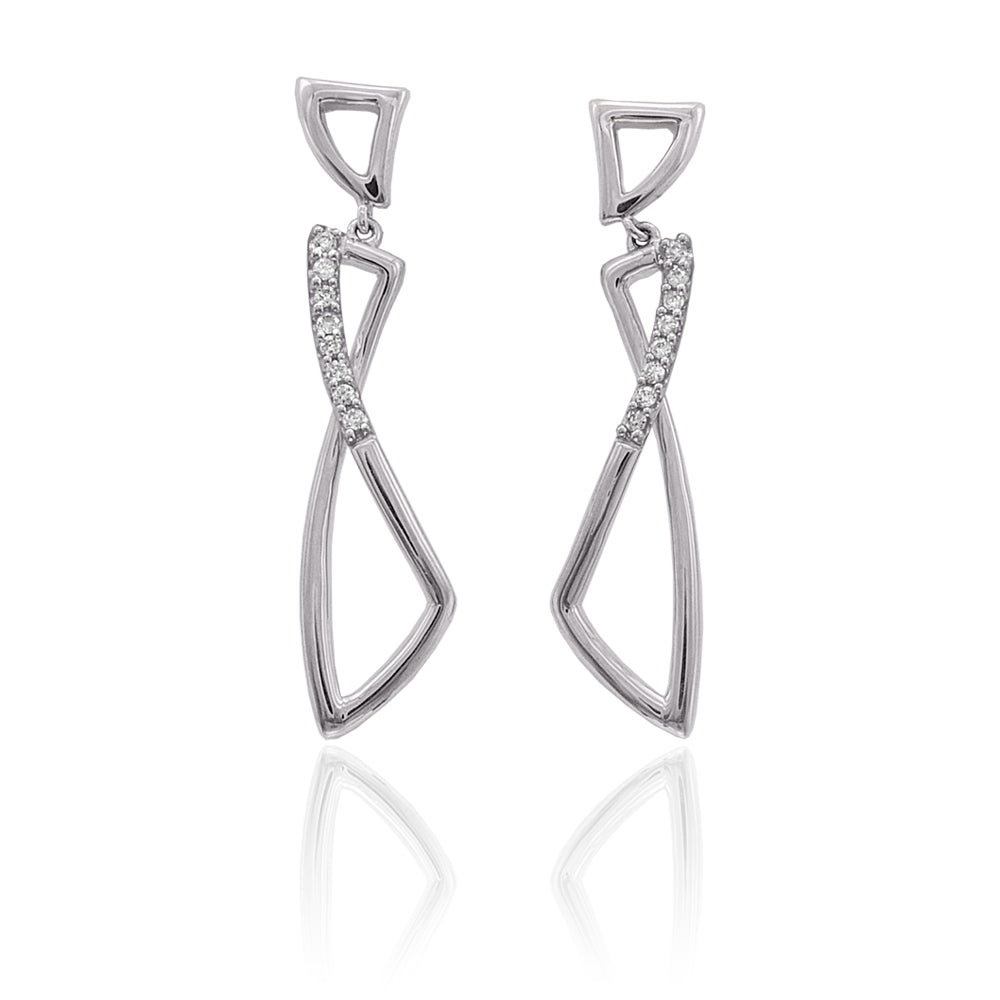 10K White Gold 1/10 ct. Diamond Fashion Earrings