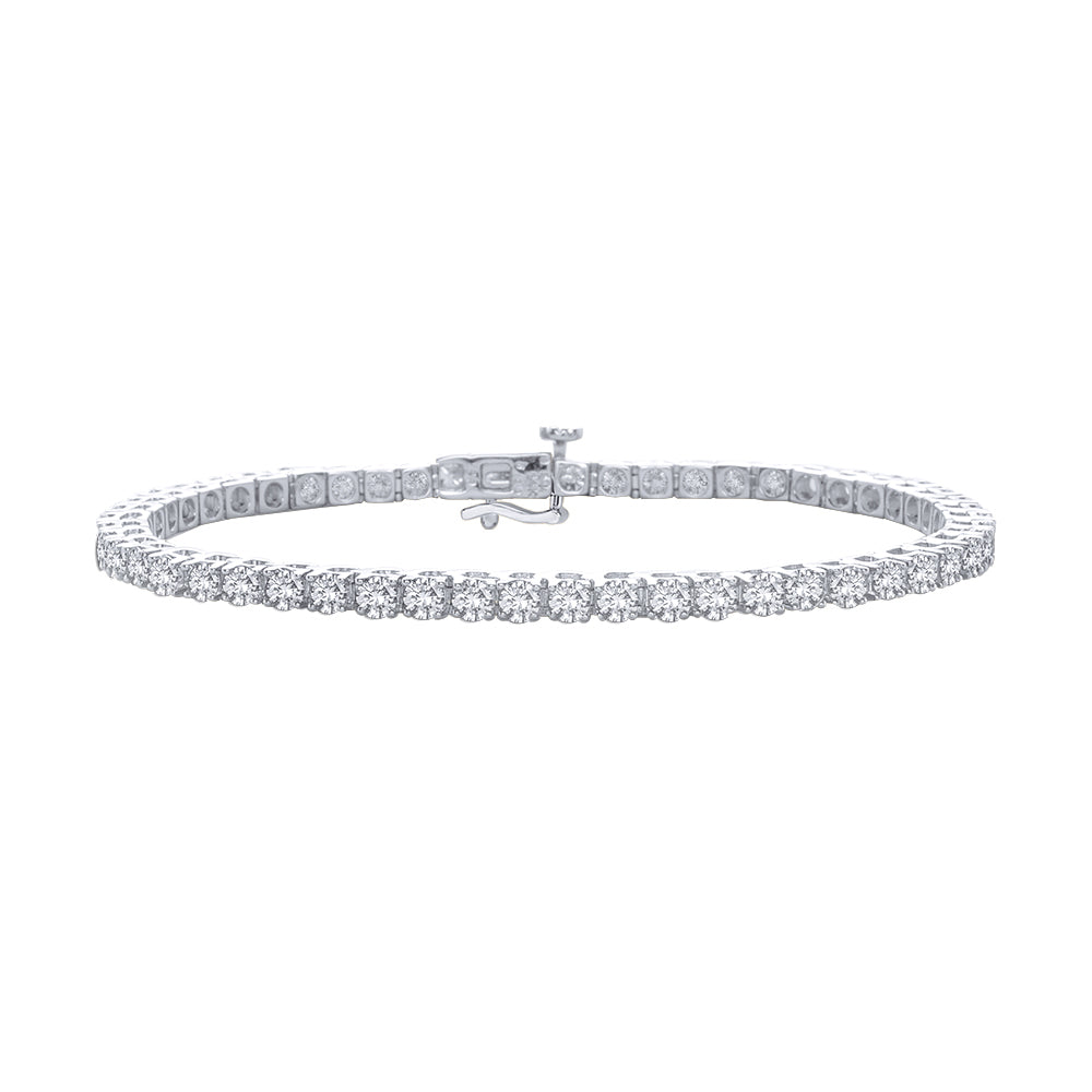 Diamond 4 Prong Bracelet in 14K White Gold (3 cttw)