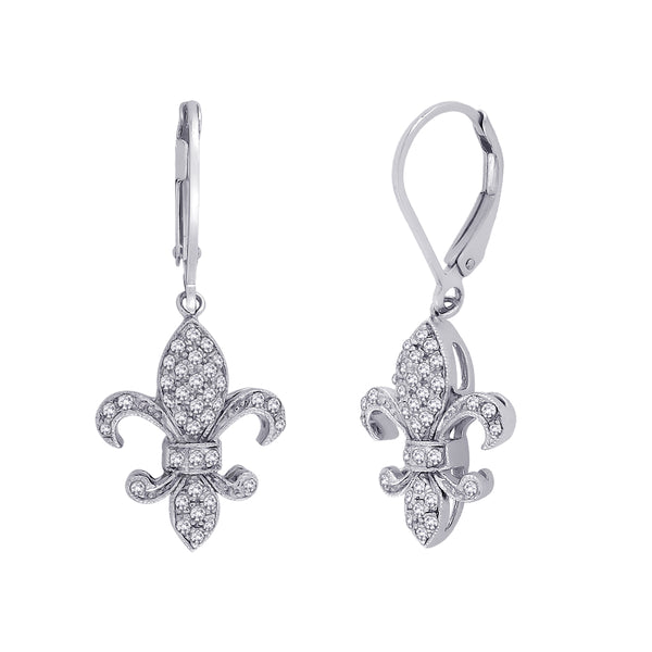 "Lever Back Diamond ""Fleur-De-Lis"" Earrings in 10K White Gold (1/3 cttw)"