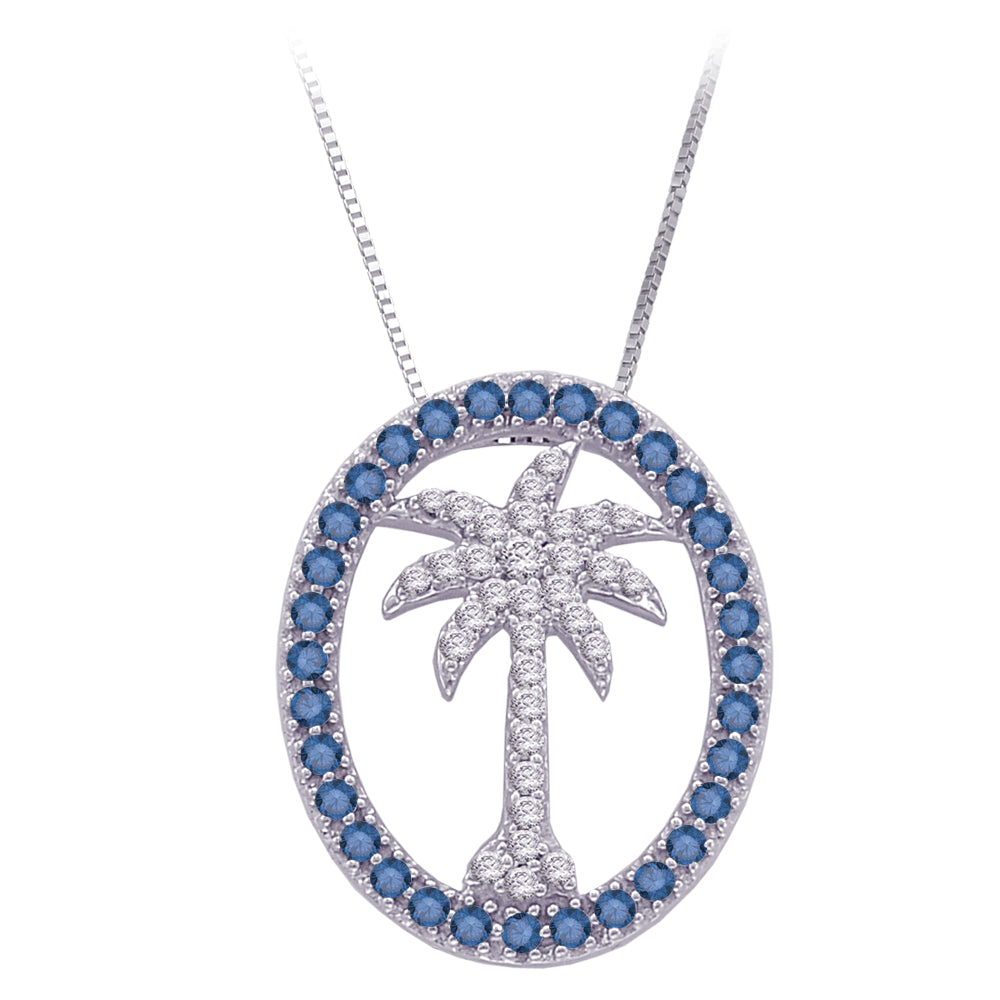"Blue and White Diamond ''Palm Tree in Oval"" Pendant with Chain in 14K White Gold (1/2 cttw)"