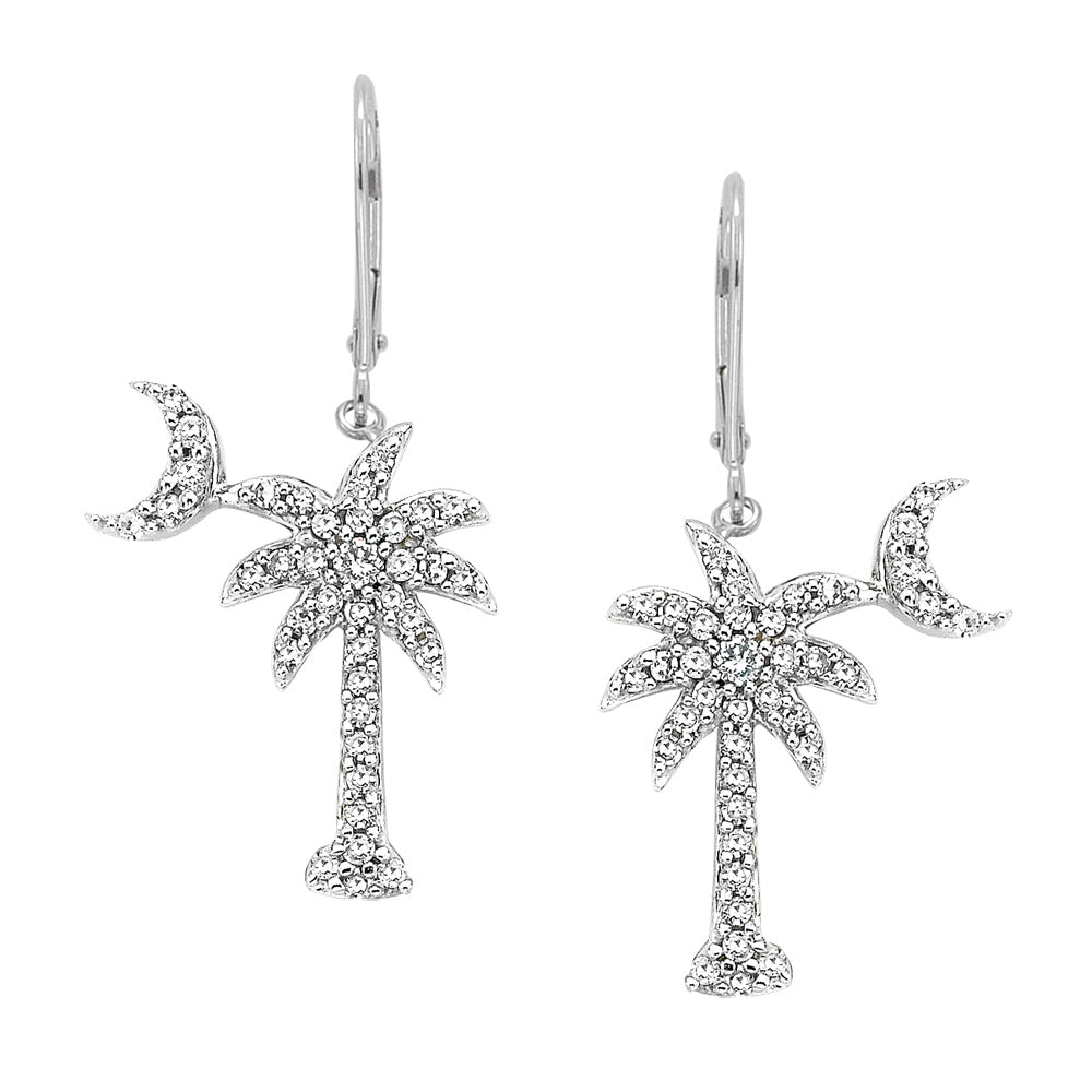 "Diamond ""Palm Tree with Crescent Moon"" Earrings in 14K White Gold (1/3 cttw)"