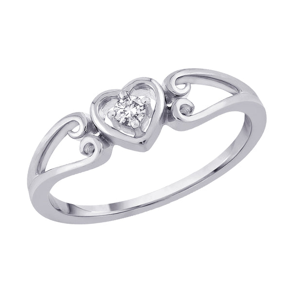 Diamond Heart Promise Ring in Sterling Silver (1/20 cttw)