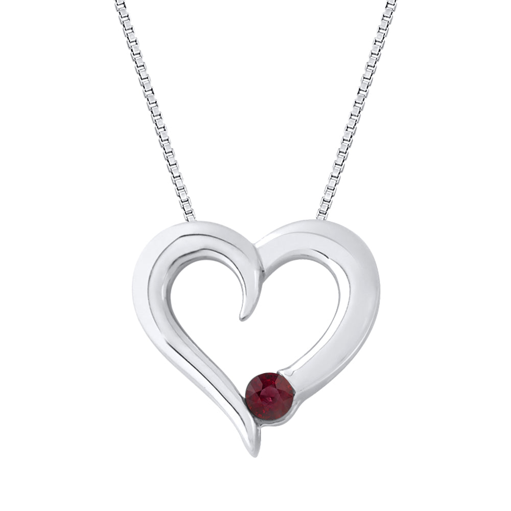Ruby Heart Pendant with Chain in 10K White Gold (1/6 cttw)
