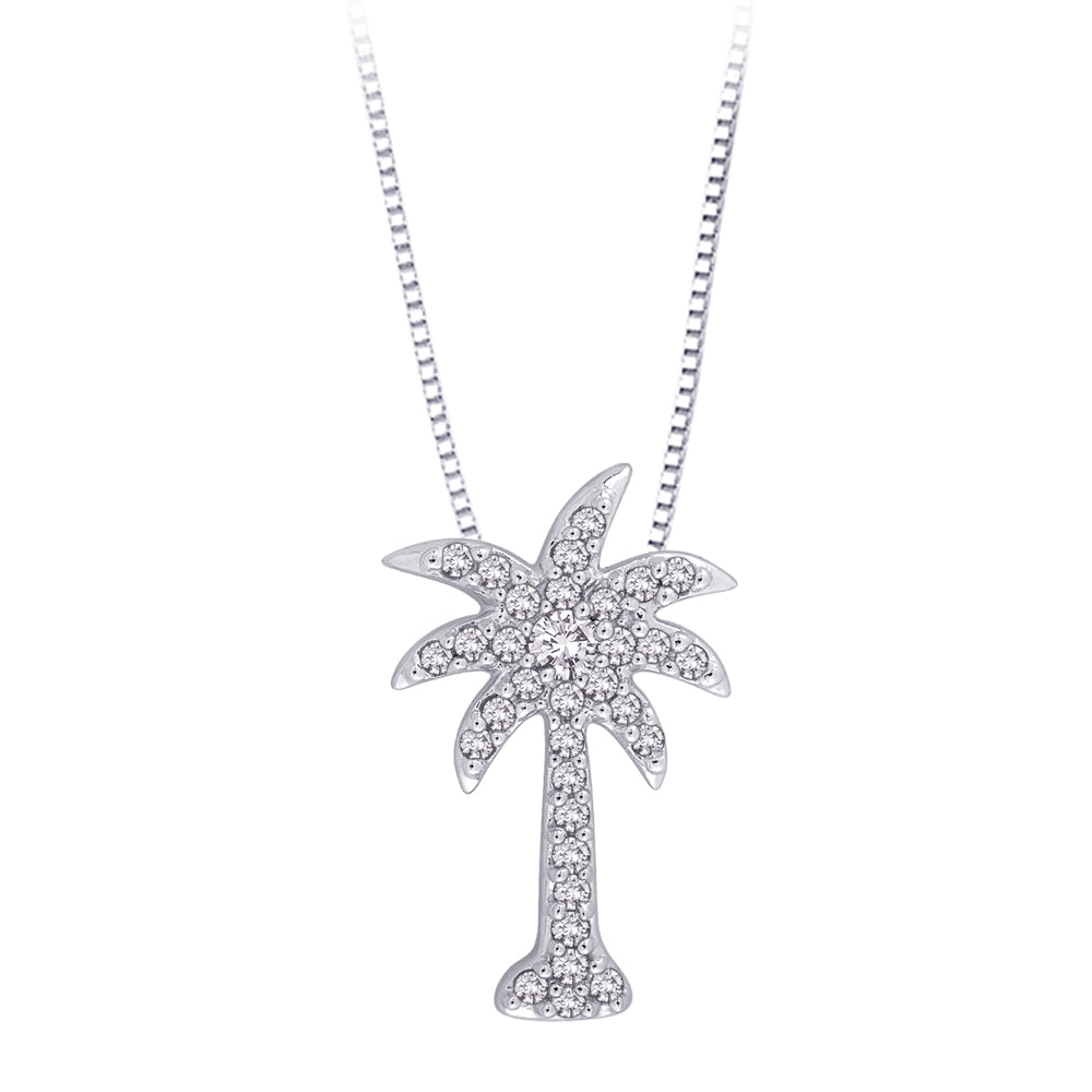"Diamond ""Palm Tree"" Pendant with Chain in 10K White Gold (1/6 cttw)"