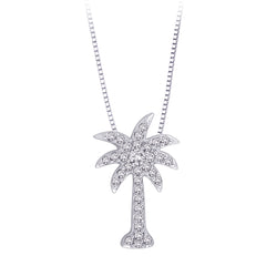 "Diamond ""Palm Tree"" Pendant with Chain in Sterling Silver (1/6 cttw)"