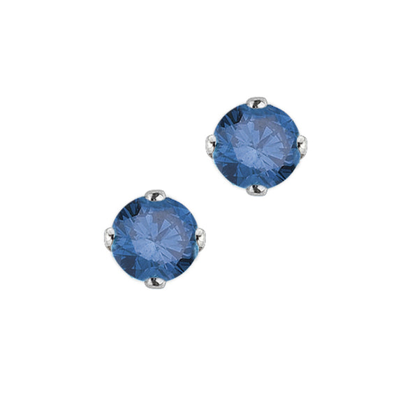 1/4 ct. Blue - I1 Round Brilliant Cut Diamond Earring Studs in 14K White Gold