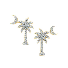 "Diamond ""Palm Tree with Crescent Moon"" Earrings in 10K Yellow Gold (1/3 cttw)"