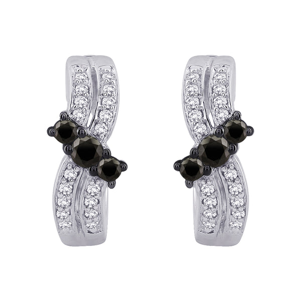 Black and White Diamond Huggie Earrings in 10K White Gold (1/2 cttw)