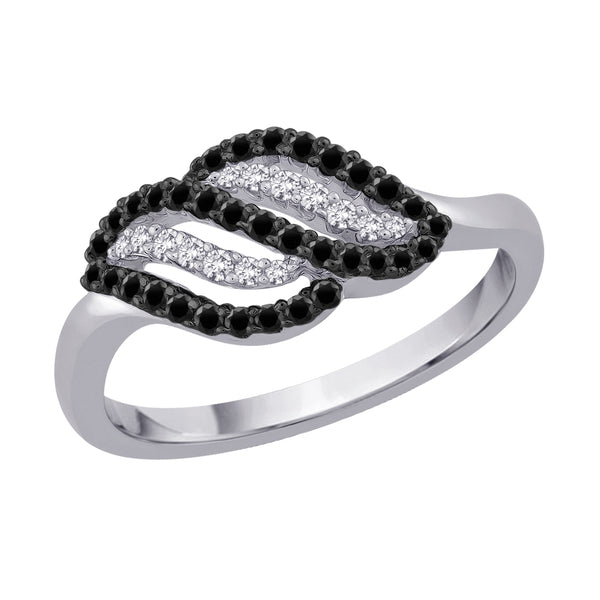 Black and White Diamond Ring in 10K White Gold (3/8 cttw)