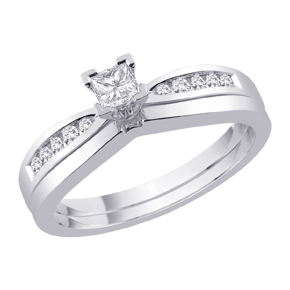 Sterling Silver 1/3 ct. Cubic Zirconia Engagement Set