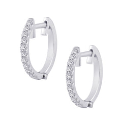 Diamond Huggie Earrings in 10K White Gold (1/5 cttw)