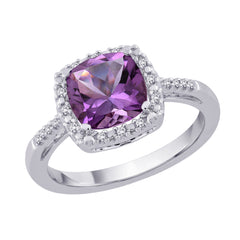 Sterling Silver 1/10 ct. Diamond and 2 ct. Amethyst Fashion Ring