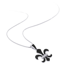 """Fleur-De-Lis"" Black and White Diamond Pendant with Chain in 10K White Gold (1/4 cttw)"