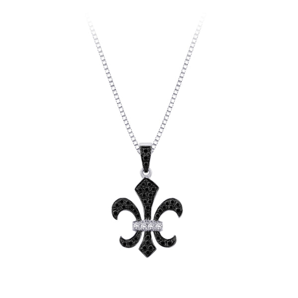 """Fleur-De-Lis"" Black and White Diamond Pendant with Chain in Sterling Silver (1/4 cttw)"