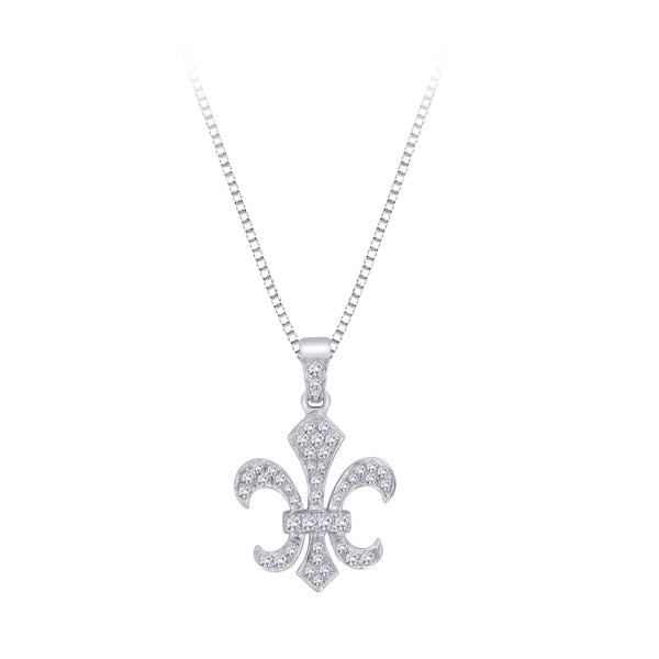 """Fleur-De-Lis"" Diamond Pendant with Chain in 10K White Gold (1/4 cttw)"