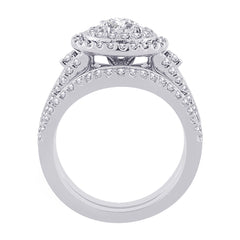 Double Halo Diamond Engagement Ring with Matching Band in 14K White Gold (2/3 cttw)