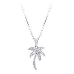 "Diamond ""Palm Tree"" Pendant with Chain in 10K White Gold (1/20 cttw)"