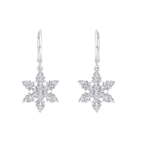 "Diamond ""Snow Flake"" Earrings in Sterling Silver (1/10 cttw)"