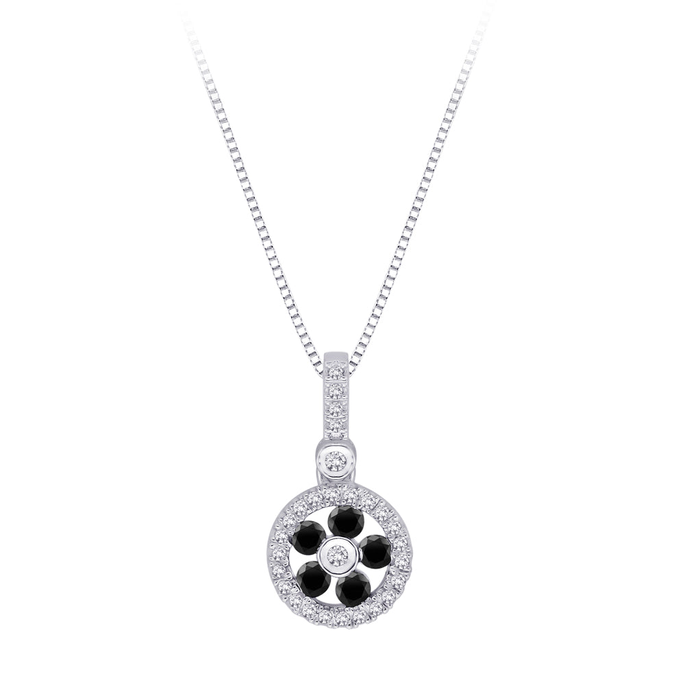 Black and White Diamond Fashion Pendant with Chain in 10K White Gold (1/3 cttw)