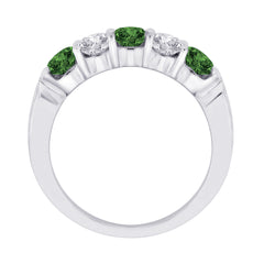 5-Stone Alternating Green and White Diamond Band in 14K White Gold (1 cttw)