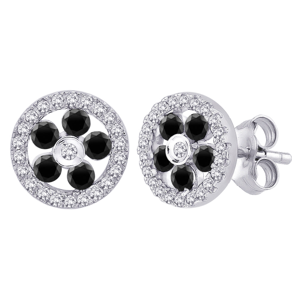 Black and White Diamond Floral Earrings in 10K White Gold (5/8 cttw)