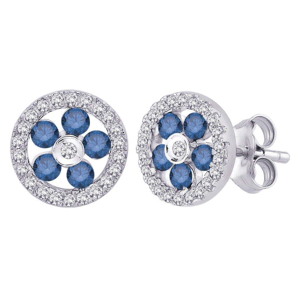 Blue and White Diamond Floral Earrings 10K White Gold (5/8 cttw)
