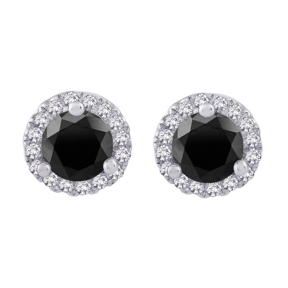 Center Black and White Diamond Halo Earrings in Sterling Silver (1/2 cttw)